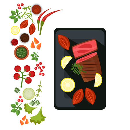 Medium Steak on Plate. Flat Vector Illustration Illustration