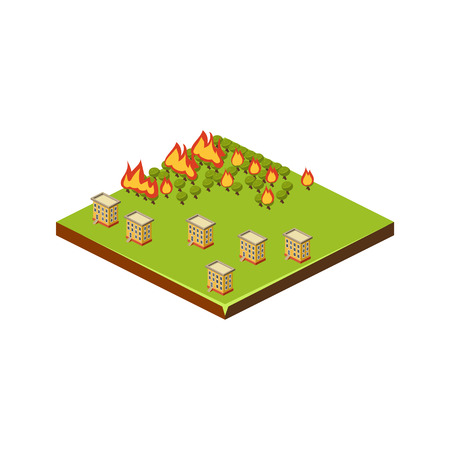 Fire in Forest. Natural Disaster Icon. 3d Vector Illustration