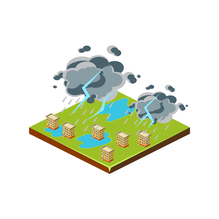 Thunderstorm. Natural Disaster Icon. 3d Vector Illustration