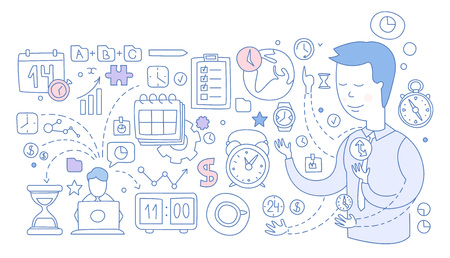 Time Management Infographics. Hand drawn Vector Illustration
