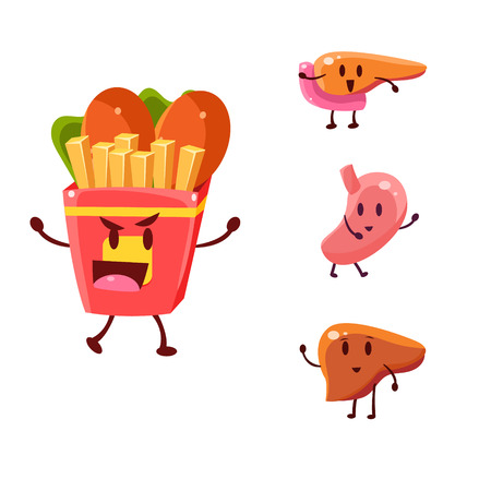 Unhealthy Food Danger. Vector Illustration Collection Harmful dependence, destruction of internal organs