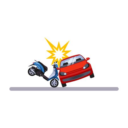 Problema di auto e trasporto con un ciclomotore. Illustrazione vettoriale piatta