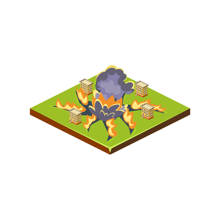 Meteorite. Natural Disaster Icon. 3d Vector Illustration Stock Vector - 124490579