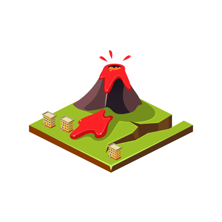 Volcano Erruption and Lava. Natural Disaster Icon. 3d Vector Illustration Illustration