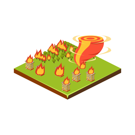 Fire and Tornado. Natural Disaster Icon. 3d Vector Illustration