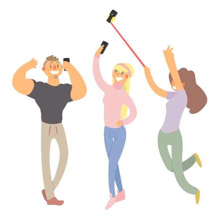 People Making Selfie. Vector Illustration Set