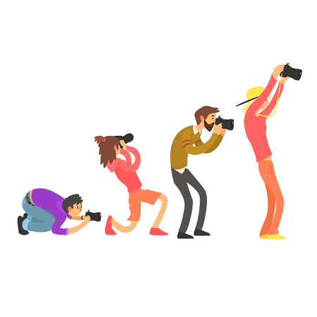 Photographers Taking Photos. Vector Illustration Set  イラスト・ベクター素材