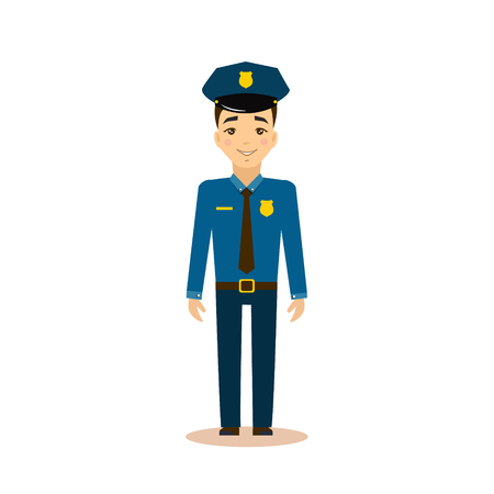 Policeman Flat Vector Illustration. Career choice concept