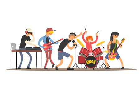 Musicians on a Concert. Flat Vector Illustration  イラスト・ベクター素材