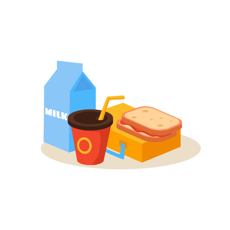 School Lunch. Education Flat Design Vector Illustration Ilustração