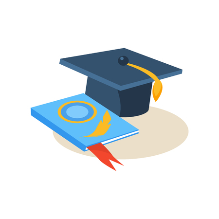 Hat and Book. Education Flat Design Vector Illustration 向量圖像