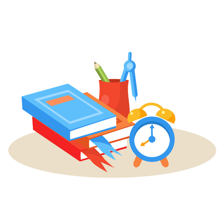 Student Desktop. Education Flat Design Colorful Vector Illustration Vetores