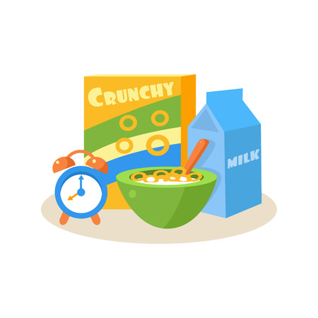 Pupil Breakfast. Education Flat Design Vector Illustration 向量圖像