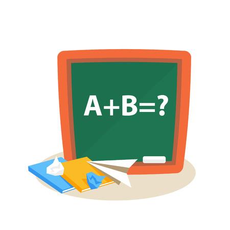 Math Lesson. Education Flat Design Vector Illustration