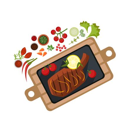Grilled Steak on Plate. Flat Vector Illustration
