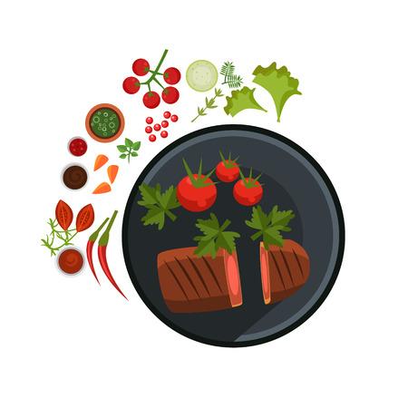 Medium Grilled Steak on Plate. Flat Vector Illustration