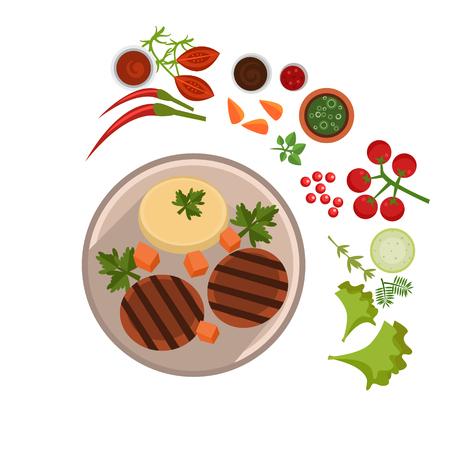 Appetizing Steak on Plate. Flat Vector Illustration