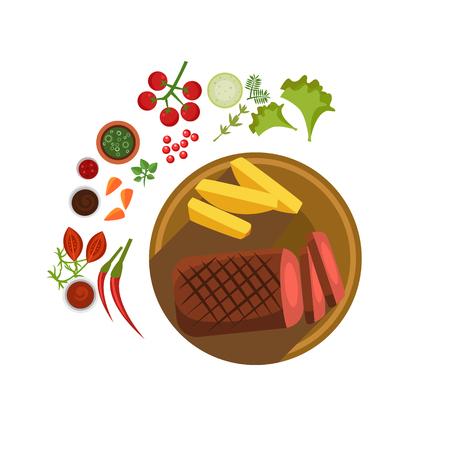 BBQ Steak on Plate. Flat Vector Illustration