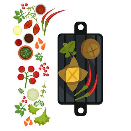 Meat Balls on Plate. Flat Vector Illustration Illustration