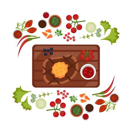 Barbeque Steak on Plate. Flat Vector Illustration