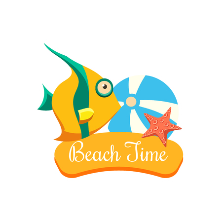 Beach Time Vacation. Bright Vector IllustartionSummer Vacation. Bright Vector Illustartion