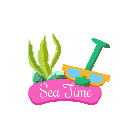 Sea Time in Summer. Bright Vector IllustartionSummer Vacation. Bright Vector Illustartion