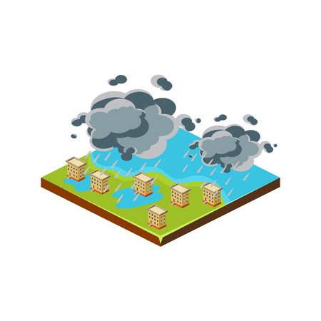 Flood in City. Natural Disaster Icon. 3d Vector Illustration  イラスト・ベクター素材