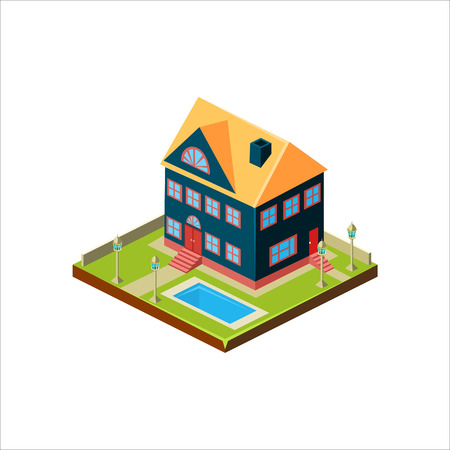 Isometric icon representing modern house with backyard vector 스톡 콘텐츠 - 124490630