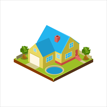 Isometric icon representing modern house with backyard vector Stockfoto - 124490631