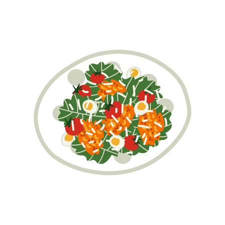 Delicious Salad on Plate, Fresh Healthy Dish, Top View Vector Illustration on White Background.