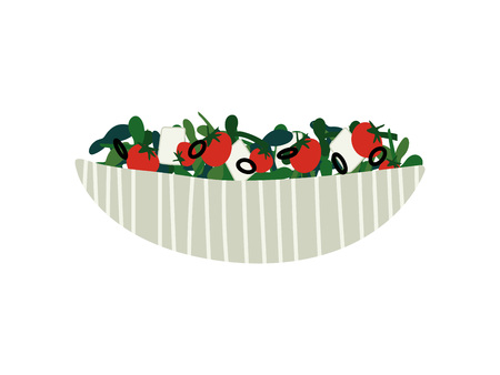 Delicious Salad with Feta Cheese and Vegetables in Ceramic Bowl, Fresh Healthy Dish Vector Illustration on White Background.