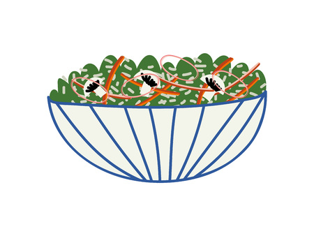 Delicious Salad in Ceramic Bowl, Fresh Healthy Dish Vector Illustration on White Background. Çizim