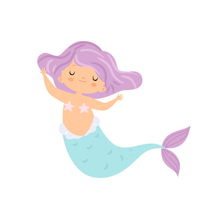 Beautiful Little Mermaid with Violet Hair, Cute Sea Princess Character Vector Illustration on White Background. Illustration