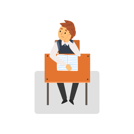 Bored Student Sitting at Desk in Classroom, Schoolboy Studying at School, College Vector Illustration on White Background.