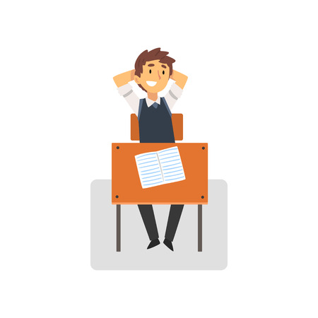 Smiling Student Sitting at Desk in Classroom, Side View, Schoolboy Studying at School, College Vector Illustration on White Background. Illustration