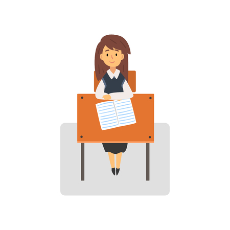 Female Student Sitting at Desk in Classroom, Schoolgirl Studying at School, College Vector Illustration on White Background. Illustration
