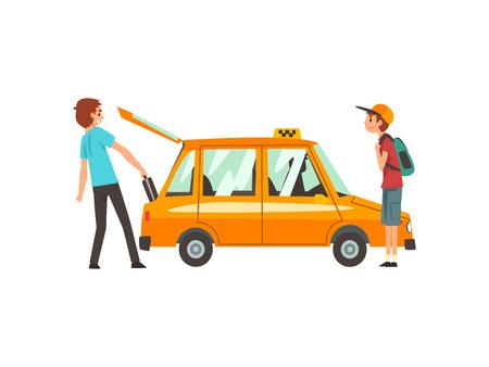 Servicio de taxi, gente cogiendo coche, joven poniendo equipaje en la ilustración de Vector de dibujos animados de maletero sobre fondo blanco. Ilustración de vector