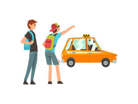Servicio de taxi, clientes masculinos que saludan a la ilustración del vector de la historieta del coche del taxi en el fondo blanco.