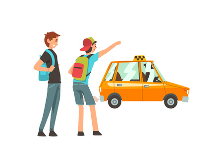 Taxi Service, Male Clients Waving to Taxi Car Cartoon Vector Illustration on White Background. Foto de archivo - 124448384