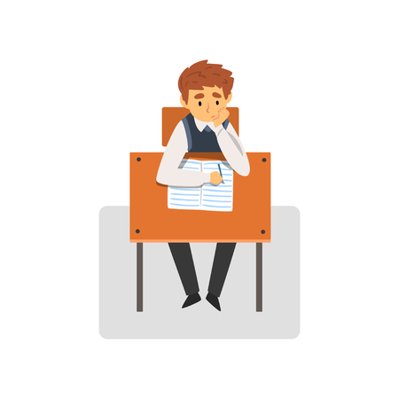 Student Sitting at Desk in Classroom, Schoolboy Studying at School, College Vector Illustration on White Background.