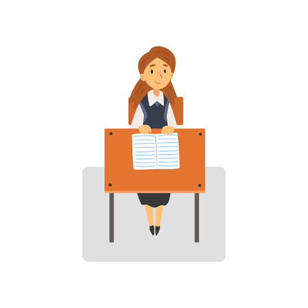 Diligent Female Student Sitting at Desk in Classroom, Schoolgirl Studying at School, College Vector Illustration on White Background.