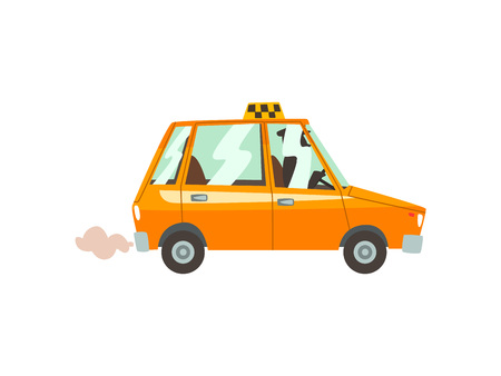 Yellow Taxi Car, Taxi Service Cartoon Vector Illustration on White Background.
