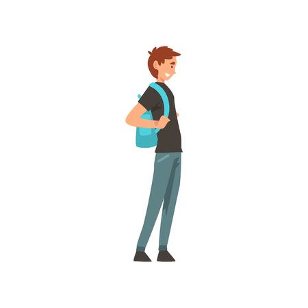 Young Smiling Man Standing with Backpack Vector Illustration on White Background. Stock Illustratie