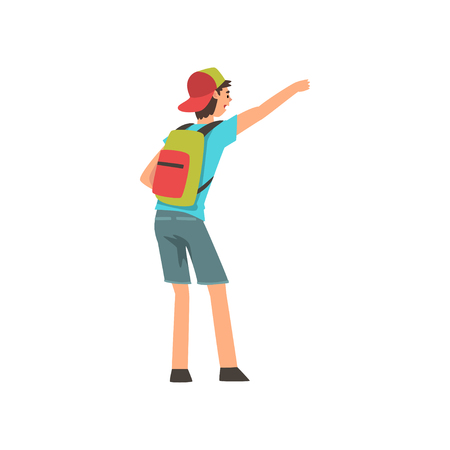 Young Man with Backpack Hailing Taxi Car Vector Illustration on White Background. Illustration