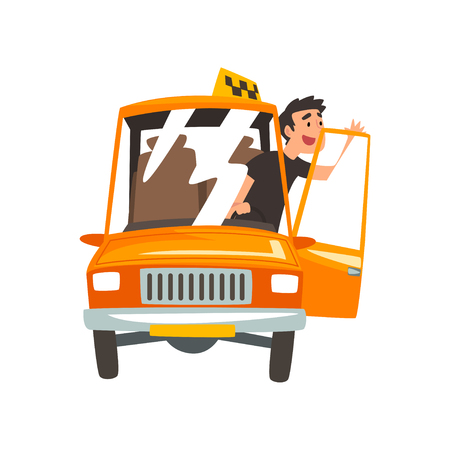Taxi Driver in Yellow Car, Taxi Service Cartoon Vector Illustration