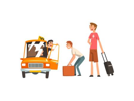 Servicio de taxi, conductor de coche y pasajeros ilustración vectorial de dibujos animados sobre fondo blanco.