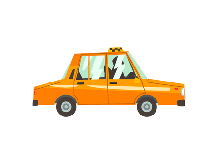 Yellow Taxi Car, Side View, Taxi Service Cartoon Vector Illustration on White Background.