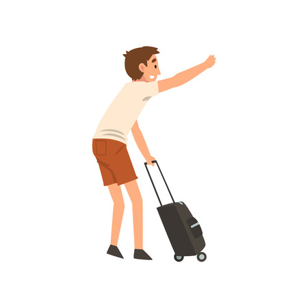 Young Man with Suitcase Hailing Taxi Car Vector Illustration on White Background. Illustration