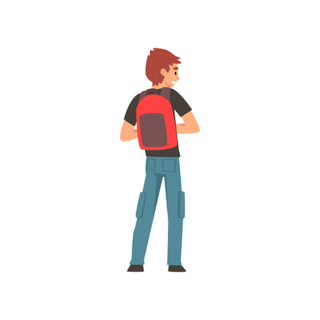 Man Standing with Backpack, Back View Vector Illustration on White Background.
