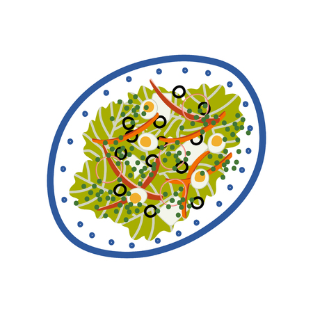 Delicious Salad with Lettuce, Eggs, Olives and Peace on Plate, Fresh Healthy Food, Top View Vector Illustration on White Background. Illustration